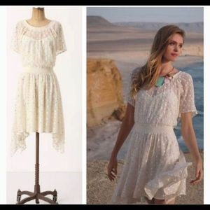 Anthropologie Leifnotes Ivory sequin dress